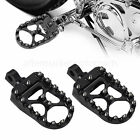 Black Wide Fat Foot Pegs MX Style Footpegs Fit for Harley Dyna Sportster Bobber