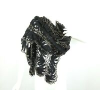 "Vintage Handmade Knit Shawl Wrap Scarf Black Gold Metallic 50s 60s Wool 20"" x 68"