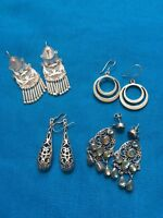 Sterling Silver Dangle Earrings 4 Pairs 42.1g Beautiful