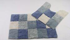 Monet Bath mat 2 PC Set BLUE WHITE 100% COTTON Bathroom rug
