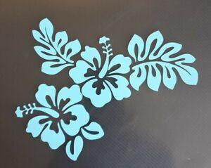 1x Hibiscus Flower Surf Vinyl Sticker Car Camper Vanlife Beach 6in Light Blue