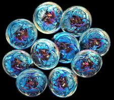 3 Czech Glass Buttons 3 Interlocking Fan Flowers Bright Blue Turquoise Flower
