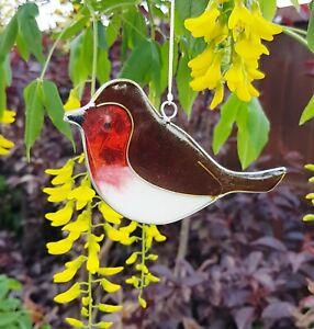 Robin red stained glass effect sun catcher mobile garden gifts British bird