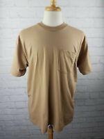 VTG 90s Pocket T Shirt XXL Brown Fruit Of The Loom Pocket Blank Single Stitch