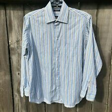 Burberry London Men's Size 17L Dress Shirt Blue Striped 100% Cotton Made USA