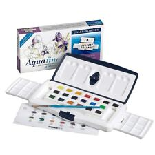 Daler Rowney Aquafine Watercolour 18 Half Pan 2 X 8ml Tubes Slider Set Brush
