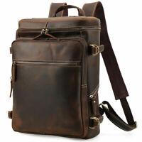 Men's Leather 15.6'' Laptop Backpack Shoulder Bag Travel Hiking Weekend Handbag