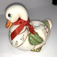 """1987 Geo Z Lefton Patchwork Christmas duck Goose Candle Holder """"Holly"""" #06430"""