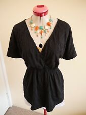 COLORADO Classic Black Crinkle TOP Size XL 14 BNWT NEW V-Neck Short Sleeves