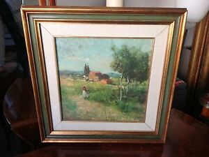 Massimo Pantani S. Gimignano 1983 olio su tela Tuscany Landscape oil on canvas