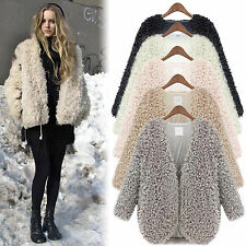 Women Shaggy Faux Fur Jacket Fluffy Parka Coat Winter Warm Outwear Cardigan Tops