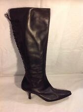 Phyllis Poland Black Knee High Leather Boots Size 5