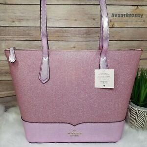 NWT Kate Spade New York Lola Glitter Tote Shoulder Bag in Rose Pink Holiday New