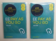 2 x EE Pay As You Go PAYG Trio (Nano/Micro/Standard) Combi Multi SIM Card UK