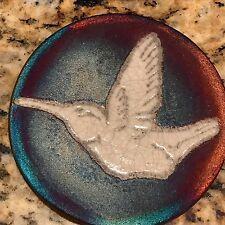 Hummingbird Coaster Raku Pottery, handmade, handsigned - NEW