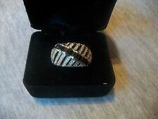 VICTORIA WIECK Signed Absolute Sz 9.5 Ring Black Onyx & Clear Crystal 925 SS NEW