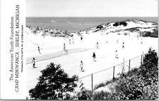 RPPC Real Photo Postcard Shelby Michigan Camp Miniwanca MI Summer Tennis Courts