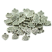 """50Pcs Silver """"MADE WITH LOVE """"Heart Charms Pendants for Jewelry Making"""