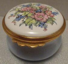 Kingsley Enamels Worcestershire England Trinket Box, Floral Spray, Blue Body