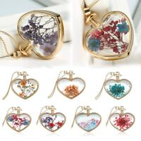 Long Sweater Chain Natural Dried Flower Gold Heart Glass Locket Pendant Necklace