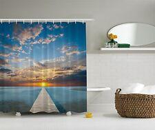 Tropical Beach Ocean at Sunset Fabric Shower Curtain Digital Art Bathroom