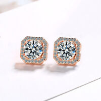 Crystal Square Stone Stud Earrings 925 Sterling Silver Womens Girls Jewellery UK