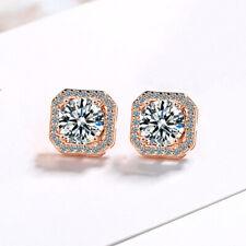 Crystal Square Stone Stud Earrings 925 Sterling Silver Womens Girls Jewellery UK