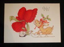 Vintage Hallmark Line-Droppers Postcard Adorable girl with reindeer on sled