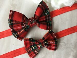 "Handmade red Royal Stewart tartan 3"" or 4"" bow baby/girls headband"