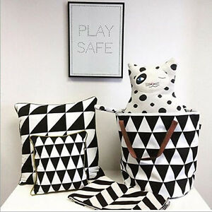 Large Home Canvas Tote Storage Bag Toys Organizer Laundry Bag Basket Black&White