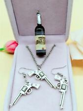 1 set of Free shipping Gothic metal silver gun earrings necklace Charm Pendant #