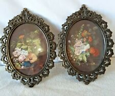 """Vintage Metal Filigree 7"""" x 4.5"""" Oval Italy Photo Picture Frame Antique Glass"""