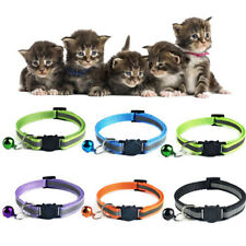 Reflective Cat Collar with Bell Nylon Cat Head Safety Buckle Pet Collar Blue 1pc