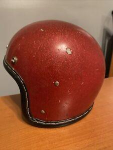 Vintage 1966 Motorcycle Open Face Racing Helmet Red Metallic Flake AS IS