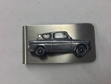Ford Anglia 105E Saloon ref69 pewter effect car emblem on a stunning Money Clip