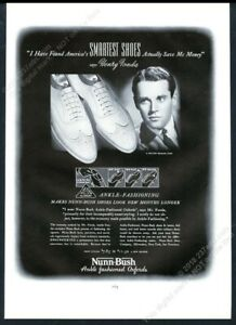 1938 Nunn Bush white wingtip men's shoes Henry Fonda photo vintage print ad