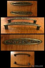 2 Pulls Handles Antique Brass Tone Cabinet Drawer Oval French Provincial Vintage