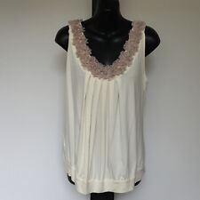 'JACQUI.E' EC SIZE 'M' CREAM BANDED HEM SLEEVELESS TOP WITH FRILL NECKLINE