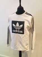 Adidas white stripe men's size medium cotton jumper