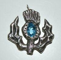 Vintage silver tone Scottish thistle pendant.