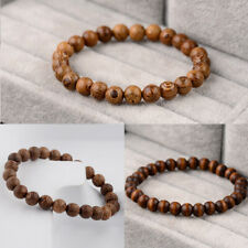 3Pcs 8mm Natural Wood Beaded Reiki Yoga Healing Bracelet Women Men Charm Jewelry