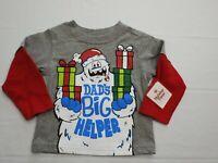 New Boys Size 12 M Dads Big Helper Snow Monster LS Gray Shirt Top Christmas