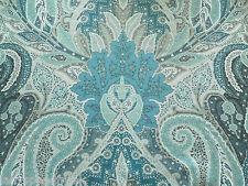 Schumacher Curtain Fabric CAMBAY PAISLEY PRINT 1.3m Azure - Linen Design 130cm