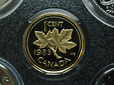1983 UNC Frosted Proof Canadian Penny One Cent - 1 cent coin