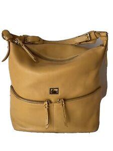 Hobo Shoulder Handbag,Dooney & Bourke Mustard/Brown,XL Quality All Leather!