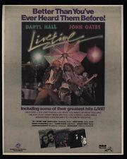 1978 DARYL HALL & JOHN OATES - LIVETIME Album Release - VINTAGE AD