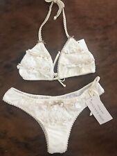 NWT Agua bendita bendito vela Ivory Crochet Lace 2 Piece Bikini Size L