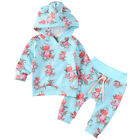 Flower Toddler Kids Baby Girl Hooded Tops +Cotton Long Pants Outfits Clothes Set