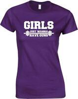 Girls Just Wanna Have Guns, Ladies Printed T-Shirt Soft Women Tee Short Sleeve