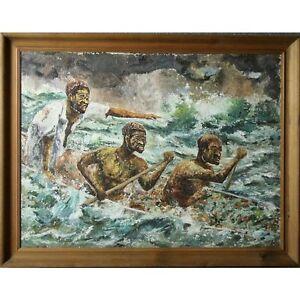 Framed Original Vintage African Canoe Kayak Rapids Modern Impasto Oil Painting